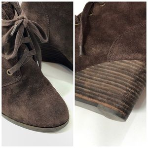 Lucky Brand Brown Suede Lace Up Wedge Booties